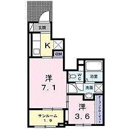 下之城町アパート[1階]の間取り