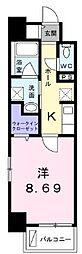 高松琴平電気鉄道長尾線 花園駅 徒歩4分の賃貸マンション 2階1Kの間取り