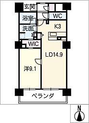 ロイヤルパークスERささしま(南棟)[9階]の間取り