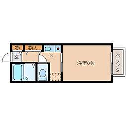 奈良県奈良市西大寺東町1丁目の賃貸アパートの間取り