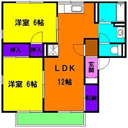 静岡県磐田市海老塚の賃貸アパートの間取り