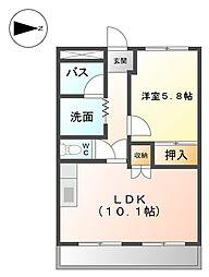 ヴィラージュA[2階]の間取り