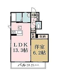 埼玉県草加市青柳4丁目の賃貸アパートの間取り