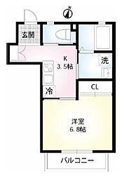 東京メトロ有楽町線 小竹向原駅 徒歩13分の賃貸マンション 2階1Kの間取り