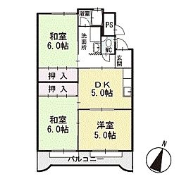 マンション光 2階[B-2号室]の間取り
