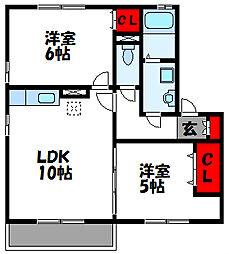 JR鹿児島本線 福工大前駅 徒歩15分の賃貸アパート 2階2LDKの間取り