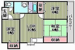 クレアジオーネ岸和田[305号室]の間取り