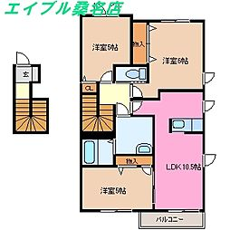 三重県桑名市大字江場の賃貸アパートの間取り