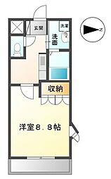 高松琴平電気鉄道琴平線 太田駅 3.2kmの賃貸アパート 2階1Kの間取り