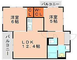 JR篠栗線 門松駅 徒歩15分の賃貸マンション 1階2LDKの間取り