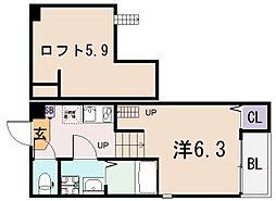 Lega布施[2階]の間取り