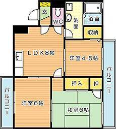 トーカンマンション平尾[2階]の間取り