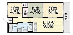 大阪府高石市東羽衣1丁目の賃貸マンションの間取り