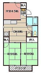福岡県北九州市八幡西区市瀬1丁目の賃貸アパートの間取り
