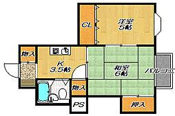 大阪府四條畷市岡山2丁目の賃貸マンションの間取り