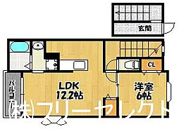 福岡県福岡市博多区那珂5丁目の賃貸アパートの間取り