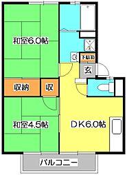 東京都東久留米市南沢1丁目の賃貸アパートの間取り