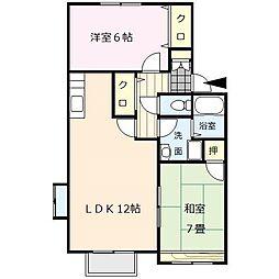サンライズ平塚[1階]の間取り
