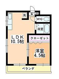 朝田ハイツ[305号室]の間取り