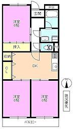 長野県長野市三本柳西2丁目の賃貸アパートの間取り