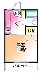 キャッスルT21[1階]の間取り