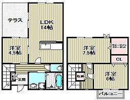 [タウンハウス] 大阪府堺市中区東八田 の賃貸【/】の間取り