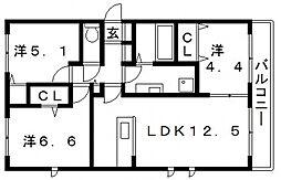 マーレルミノーソ2[3階]の間取り