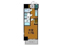 Osaka Metro千日前線 鶴橋駅 徒歩2分の賃貸マンション 6階1Kの間取り
