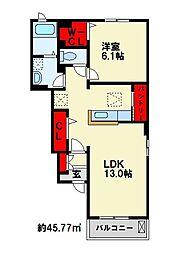 JR鹿児島本線 遠賀川駅 徒歩19分の賃貸アパート 1階1LDKの間取り