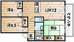 福岡県北九州市八幡西区大浦2丁目の賃貸アパートの間取り