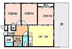 香川県高松市十川西町の賃貸アパートの間取り