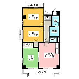ハイネス相川[6階]の間取り