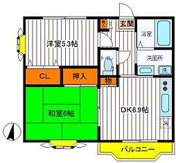 東京都立川市富士見町3丁目の賃貸マンションの間取り