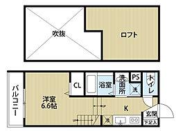 エフワイスタイル箱崎[1階]の間取り