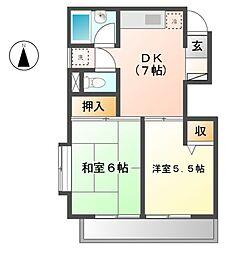 イトウマンション 5b[2階]の間取り