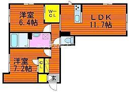 エストガーデン青江[1階]の間取り