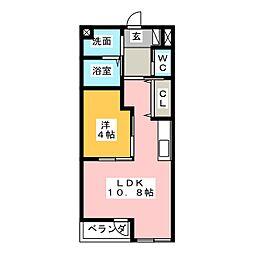 テゾーロ 2階1LDKの間取り