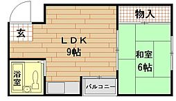 松木マンション[4階]の間取り