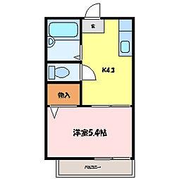 滋賀県大津市御陵町の賃貸アパートの間取り