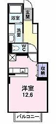 南海高野線 北野田駅 徒歩14分の賃貸アパート 1階1Kの間取り