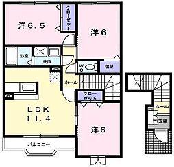シャトー・シモハタ2[2階]の間取り