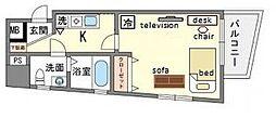 家具・家電付き ソシアル天神[2階]の間取り