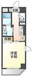 岡山電気軌道清輝橋線 大雲寺前駅 徒歩6分の賃貸マンション 8階1Kの間取り