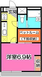埼玉県所沢市大字坂之下の賃貸アパートの間取り