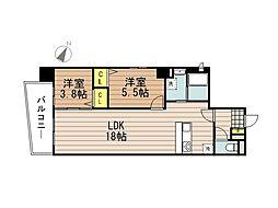 JR京浜東北・根岸線 さいたま新都心駅 徒歩10分の賃貸マンション 2階2LDKの間取り