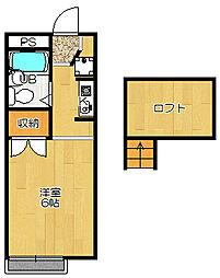 JR片町線(学研都市線) 忍ヶ丘駅 徒歩13分の賃貸アパート 1階1Kの間取り
