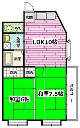 古川コーポ[3階]の間取り