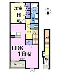 愛知県一宮市妙興寺1丁目の賃貸アパートの間取り