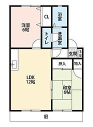 福岡県北九州市小倉南区湯川3丁目の賃貸アパートの間取り