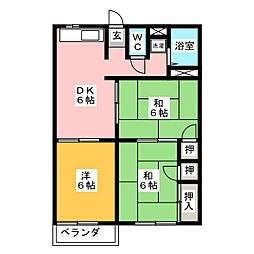 ファミール徳倉B 2階3DKの間取り